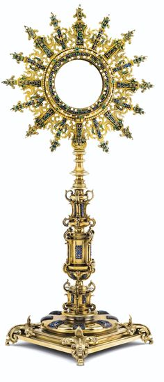 Grand ostensoir en vermeil serti d'emaux, emeraudeset perles de differentes formes, apparemment non poinconne, probablement Perou, fin du XVII<sup>e</sup> siecle | Lot | Sotheby's