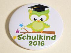 Button Schulkind 2016 Eule grün