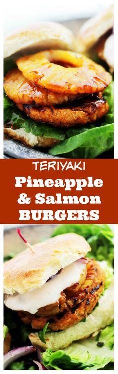 Teriyaki Pineapple and Salmon Burgers with Sriracha-Yogurt Sauce - Delicious and fun homemade teriyaki salmon burgers topped with grilled pineapple and a creamy sriracha-yogurt sauce.