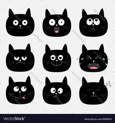 Cute black cat head set Funny cartoon characters vector image on VectorStock Cat Face Drawing, Funny Cartoon Characters, Cat Crying, Design Plano, Shrink Art, Cute Black Cats, Different Emotions, Angry Cat, Cat Posters