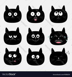 Cute black cat head set Funny cartoon characters vector image on VectorStock