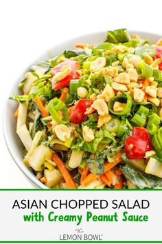 The best easy vegetarian Asian Chopped Salad recipe - the perfect appetizer, packed lunch, or side dish #mealprep #easy #vegetarian #recipes Healthy Asian Recipes, Healthy Dinner Recipes, Vegetarian Recipes, Healthy Meals, Asian Chopped Salad, Chopped Salad Recipes, Asian Chop Salad Recipe, How To Make Salad, Kitchen Recipes