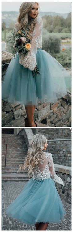 High Fashion Two-Piece Long Sleeves Tulle Homecoming Dress with Lace Top,Cute Prom Gown
