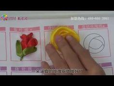 hướng dẫn thêu ruy băng hoa hồng - YouTube