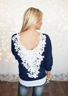 Online boutique. Best outfits. No Sweat Off My Back Lace Top Navy - Modern Vintage Boutique