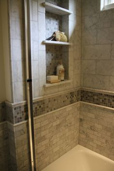 love the built in shelves and tile