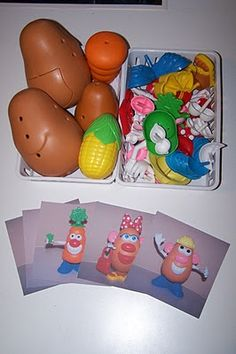 Put Mr. or Mrs. Potato head together in various outfits and poses and take photos of them.  Put all their parts back into a communal bin  and then let the kids look at photos to recreate  their favorite looks. It's like the matching game, but better!