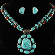 Beautiful Quality Turquoise Mountain Necklace and Earrings