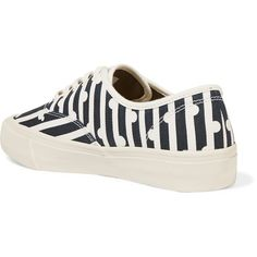 J.Crew + SeaVees printed canvas sneakers ($99) ❤ liked on Polyvore featuring shoes, sneakers, nautical shoes, canvas shoes, canvas trainers, stripe shoes and j crew sneakers
