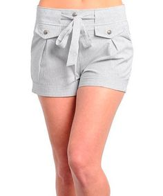 This Gray Pinstripe Tie-Waist Shorts by Buy in America is perfect! #zulilyfinds