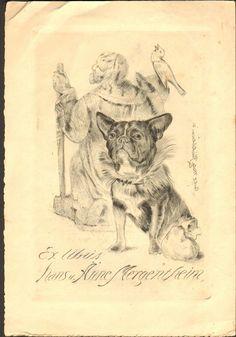 EXLIBRIS ANIMALS DOG PUG ART NOUVEAU 1910s MERGENTHEIM SIGNED