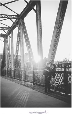 denver engagement photos, black and white photos, bridge photos, engagement, couple, industrial