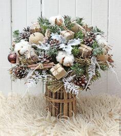 Купить Зимний букет - коричневый, уютный, бежевый, зимний букет, зимняя флористика, подарок