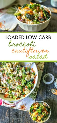 Carb Loaded Broccoli Cauliflower Salad Low Carb Loaded Broccoli Cauliflower Salad - take to a picnic or just eat for lunch. Only net carbs!Low Carb Loaded Broccoli Cauliflower Salad - take to a picnic or just eat for lunch. Only net carbs! Low Carb Recipes, Diet Recipes, Healthy Recipes, Low Carb Summer Recipes, Lunch Recipes, Vegetarian Recipes, Healthy Food, Broccoli Cauliflower Salad, Low Carb Broccoli Salad