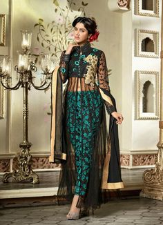 Looking amazing with attachment of black net designer #salwarsuit. This pretty attire is displaying some fantastic embroidery done with resham and zari work.