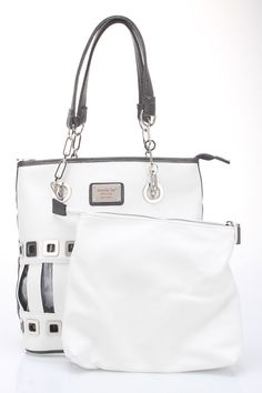 Jailbreak Tall Tote in White With unique designs and funky details, Nicole Lee has created a collection that is continuously pushing the envelope when it comes to hot fashion trends; Features laser cut panel square detailing; Top zipper closure; See through front window detail; Nicole Lee nameplate in front; Back zip wall pocket; Extra interior pocket that is fully removable for bag Bags #Handbags