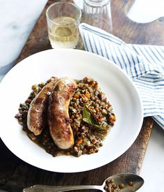 Hand-cut pork sausages with Muscadet