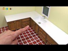 DIY Miniature L Shaped Kitchen Sink ミニチュアL字型の流し台作り - YouTube