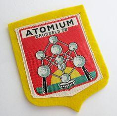 Vintage 1958 Atomium World's Fair Brussels Belgium Embroidered Yellow Felt Souvenir Patch. via Etsy.