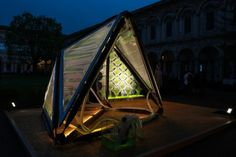 Generating as much oxygen per day as square feet of natural woodland, the Urban Algae Canopy combines architecture, biology and digital technology to create a structure that generates energ… Sustainability Projects, Digital Technology, Ecology, Square Feet, Canopy, Outdoor Gear, Facade, Woodland, Tent