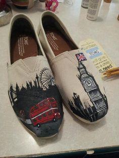 Handprints London Skyline TOMS shoes.