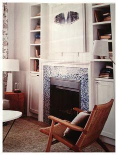 fireplace mantle shelves built-in living room
