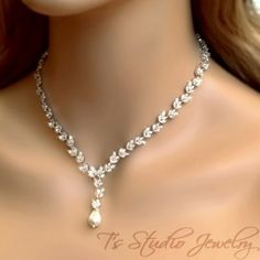 Cubic Zirconia & Pearl Bridal Necklace by TStudioBridalJewelry Bridal Jewelry Sets, Bridal Necklace, Wedding Jewelry, Stylish Jewelry, Cute Jewelry, Women Jewelry, Silver Necklaces, Sterling Silver Jewelry, Jewelry King