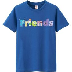 UNIQLO Utgp Pixar Graphic Tee ($9.90) ❤ liked on Polyvore featuring tops, t-shirts, graphic tops, blue top, graphic t shirts, blue t shirt and graphic design t shirts