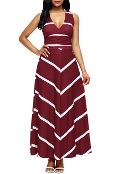Burgundy V Neck Cut out Back Chevron Stripes Maxi Dress