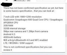 Apparently have a some guy representing ASUS done a live chat about the specs of the next Nexus 7.
