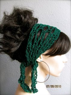 Hunter Green Hand Crochet Gypsy Style Hair Band and Scarf