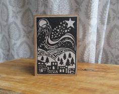 Bethlehem- black and white lino print Christmas Card.