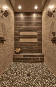 Charcoal Black Pebble Tile Awesome shower with Sliced Black pebble tile shower pan tile.Awesome shower with Sliced Black pebble tile shower pan tile. Dream Bathrooms, Beautiful Bathrooms, Small Bathroom, Bathroom Ideas, Bathroom Designs, Shower Designs, Budget Bathroom, Colorful Bathroom, Bathroom Trends