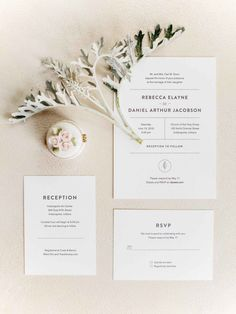 Simple, white wedding invitation suite - The Wedding Story of REBECCA & DANIEL JACOBSON | WeddingDay Magazine