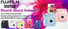 "FUJIFILM INSTAX ""Heard about Instax?"" Sweepstakes for Legal Residents,13 Years of Age or Older, of USA, Washington, D.C. & Canada: For A Chance to Win an Instax Mini 8 Instant Camera Plus Film, Enter before Jan.12, 2016 @ 11:00 pm (US/Eastern)"