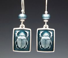 "Small Scarab Earring - Fine Silver and Enamel, pearls. ($150-$175)  Size: 1/2"" W x 5/8"" H"
