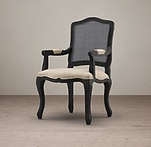 Vintage French Camelback Cane Back Fabric Armchair