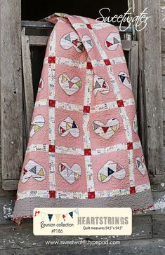 "love this new 'Heartstrings"" quilt pattern by Sweetwater - love the bunting and the blanket-stitching"