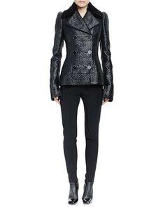 Alexander McQueen Double-Breasted Shearling Fur Collar Jacket & High-Waist  Fall 2015
