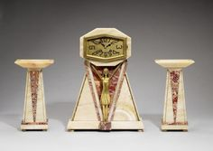 French  An Art Deco Gilt Bronze and Marble Clock Garniture, circa 1925