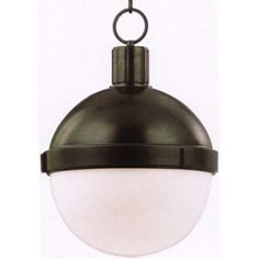 """Lambert Pendant with Old Bronze Finish by Restoration Warehouse. Available in Small, Medium and Large. *Image #2 is for demonstration purposes only.     Sm: Bulb (1) 75 w/m - Med: Bulb (1) 100 w/m - Lg: Bulb (1) 150 w/m; Canopy: 5 1/2""""D"""