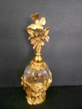"VINTAGE FILIGREE GOLD ORMOLU AND GLASS PERFUME BOTTLE 8"" TALL W/BIRD ON TOP"