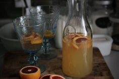 Citrus absolutely screams Springtime to me, and it screams Summertime, too, but I can wait for that to come. I used a moscato and vino verde wine in this sangria. Another time I replaced the vino verde with a pinot grigio and it came out delicious as well. Some generous squeezes of three types of oranges (blood orange, cara cara and navel), lemon and lime made it oh so good. So did the added fizz that came from Orangina. I love that stuff.