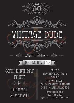 Vintage Dude Invitation man birthday by AmyBeeCreations on Etsy