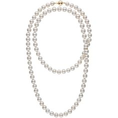 35 inch 9.5-10.5 mm White Freshwater Pearl Necklace ($599) ❤ liked on Polyvore featuring jewelry, necklaces, white necklace, freshwater cultured pearl necklace, clasp necklace, 14k necklace and white jewelry