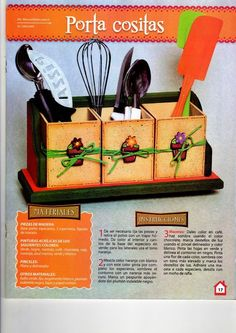 revista manualidades para la cocina Country Art, Kids Decor, Projects, Diy, Craft, Kitchen, Kitchen Fixtures, Creative Crafts, Painted Boxes