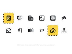 Real Estate Icon pack by Petr Bilek Real Estate Icons, Icon Pack, Line Icon