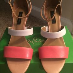 """Ann Taylor NWT """"Karmen Wedge Sandal 8M 3 inch strappy wedge with a nude ankle strap, peachy- coral color- the heel is white & coral stripes Ann Taylor Shoes Wedges"""