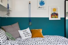 Lovely colours and cushions in daughter Olivia's room.