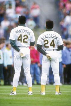 Dave & Rickey Henderson - Oakland A's Mlb Players, Baseball Players, Baseball Cards, Baseball Pitching, Baseball Socks, American League, Oakland Athletics, World Of Sports, Sports Stars